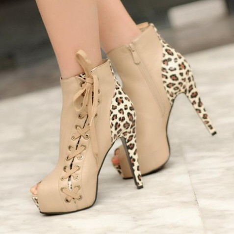 khaki_leopard_print_boots_side_lace_up_peep_toe_booties_with_platform